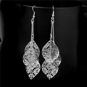 Beautiful Silver Plated Long Dangle Leaves Earring